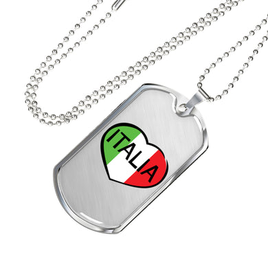 Italia Dog Tag Pendant with Military Chain