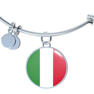 Italian Flag With Circle Charm Bangle
