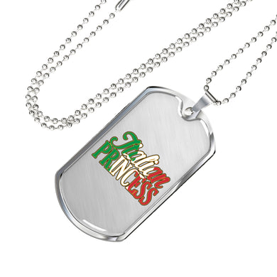 Italian Princess Dog Tag Pendant with Military Chain