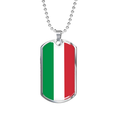 Italy Flag Dog Tag Pendant with Military Chain