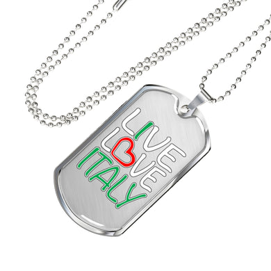 Live Love Italy Dog Tag Pendant with Military Chain