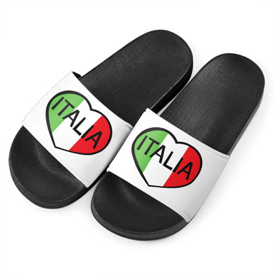 Italia Heart B&W - Women's Slide Sandals