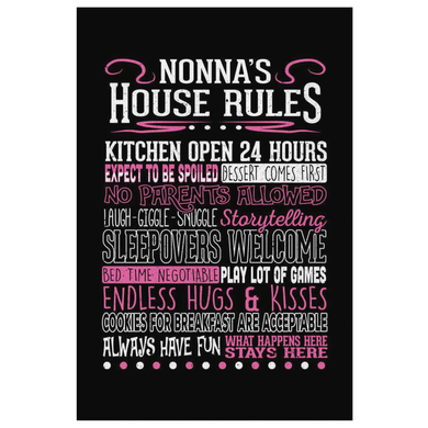 Nonna's House Rules Canvas Wall Art Portrait