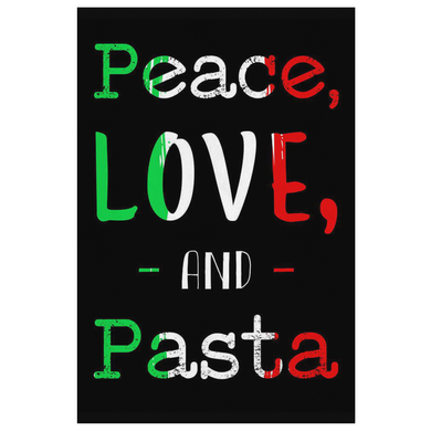 Peace Love Pasta Canvas Wall Art Portrait