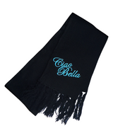 Ciao Bella Black Italian Scarf with Blue Embroidery