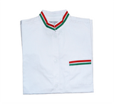 White Heavy Italian Chef Coat with Flag Embroidery