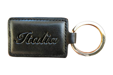 Italia Keychain - Black Embossed Leather