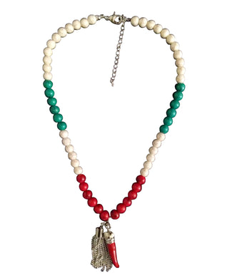 Italy Themed Silver Stone Beaded Necklace