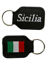 Sicilia Keychain - Black Embroidered with Flag on Back