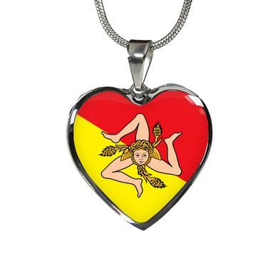 Sicilian Flag with Heart Pendant Necklace