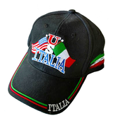 US / Italia Flags Baseball Cap in Black
