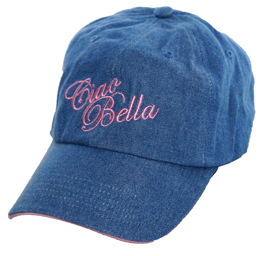 Ciao Bella Denim Baseball Cap with Pink Embroidery