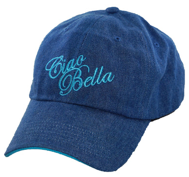 Ciao Bella Denim Baseball Cap with Blue Embroidery