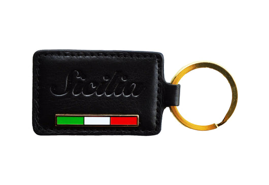 Sicilia Keychain - Black Embossed Leather with Flag