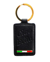 Ciao Bella Keychain - Black Embossed Leather with Flag
