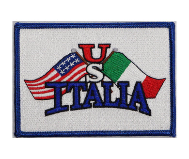 US Italia Flags Iron On Patch (White)