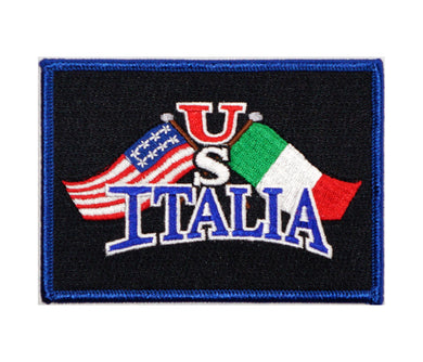 US Italia Flags Iron On Patch (Black)