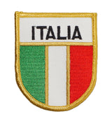 Italia Flag Shield Iron On Patch