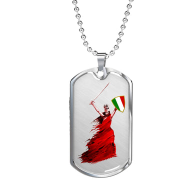 Woman Warrior Dog Tag Pendant with Military Chain