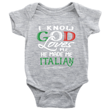 God Made Me Italian Baby Onesie