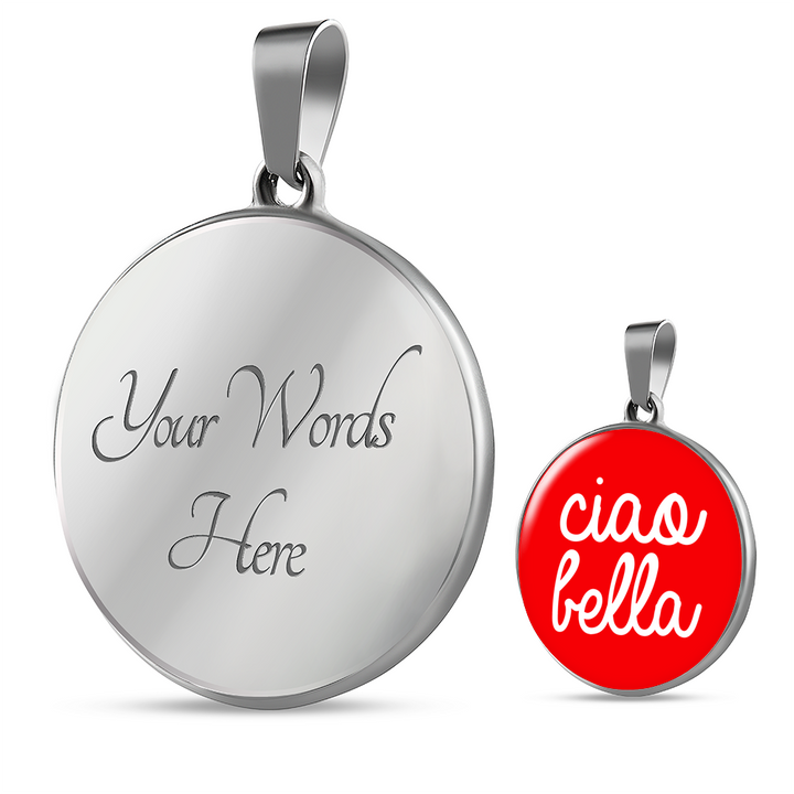 Ciao Bella with Red Circle Pendant Necklace