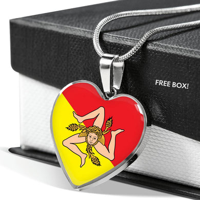 Sicilian Flag with Heart Pendant Necklace in Gold & Stainless Steel