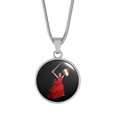 Italian Woman Warrior with Circle Pendant Necklace