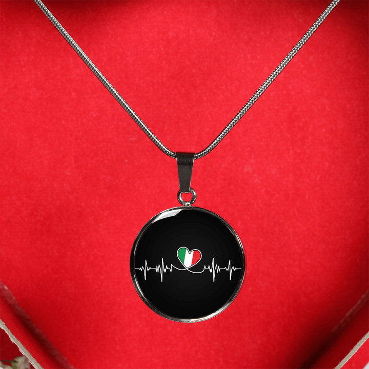 Italian Lifeline With Circle Pendant Necklace