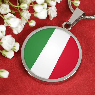 Italian Flag With Circle Pendant Necklace