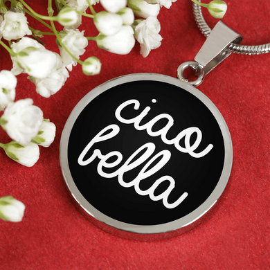 Ciao Bella with Black Circle Pendant Necklace