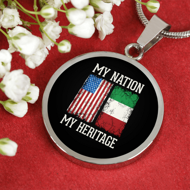 Italian My Nation My Heritage With Circle Pendant Necklace