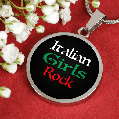 Italian Girls Rock With Black Circle Pendant Necklace