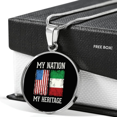 Italian My Nation My Heritage With Circle Pendant Necklace in Gold & Stainless Steel