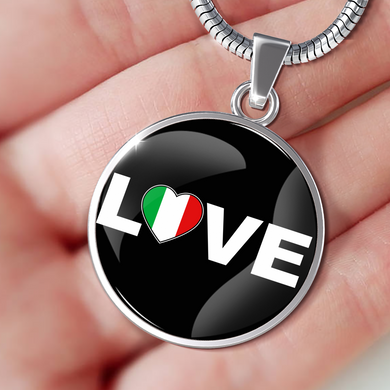 Italian Love With Black Circle Pendant Necklace