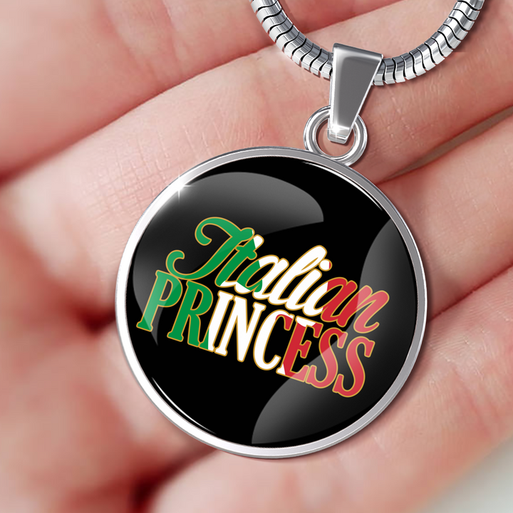 Italian Princess With Black Circle Pendant Necklace