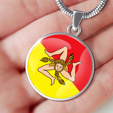 Sicilian Flag With Circle Pendant Necklace