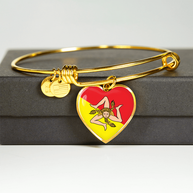 Gold Sicilian Flag with Heart Charm Bangle