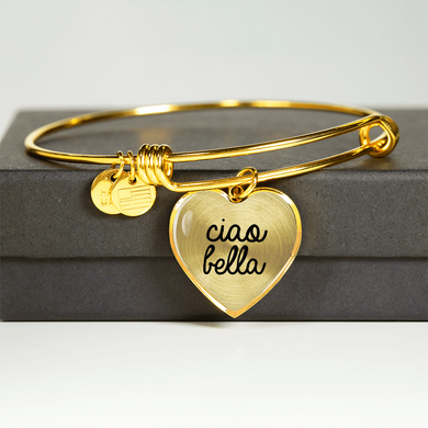 Gold Ciao Bella with Heart Charm Bangle