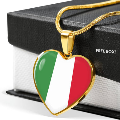 Italian Flag with Heart Pendant Necklace in Gold & Stainless Steel