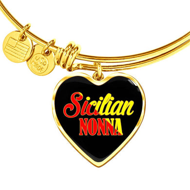 Gold Sicilian Nonna with Black Heart Charm Bangle