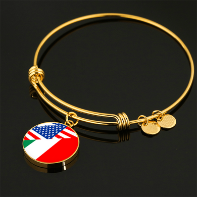Gold American Italian with Circle Charm Bangle