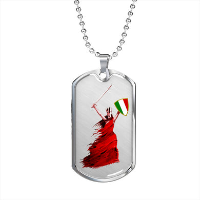 Woman Warrior Dog Tag Pendant with Military Chain in Stainless Steel & Gold option
