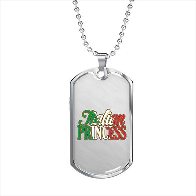 Italian Princess Dog Tag Pendant with Military Chain in Stainless Steel & Gold option