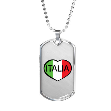 Italia Dog Tag Pendant with Military Chain in Stainless Steel & Gold option