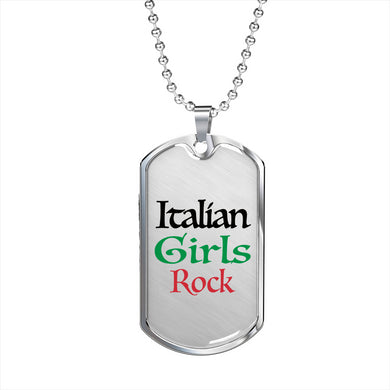 Italian Girls Rock Dog Tag Pendant Black with Military Chain in Stainless Steel & Gold option