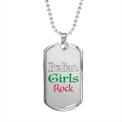 Italian Girls Rock Dog Tag Pendant with Military Chain in Stainless Steel & Gold option