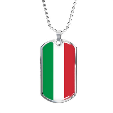 Italy Flag Dog Tag Pendant with Military Chain in Stainless Steel & Gold option