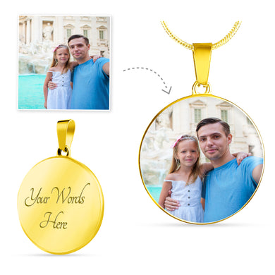 Custom Photo Gold Circle Necklace