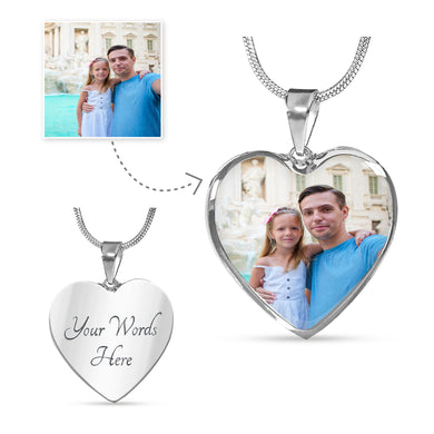 Custom Photo Silver Heart Necklace
