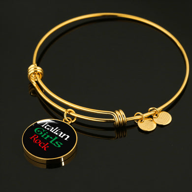 Gold Italian Girls Rock With Black Circle Charm Bangle